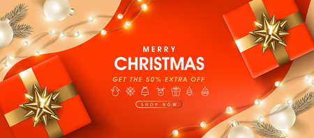 Merry Christmas sale banner template with festive decoration for christmas