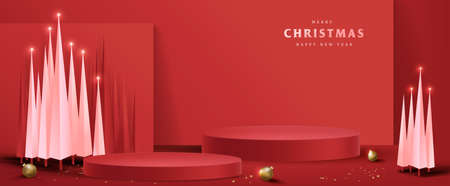 Merry Christmas banner with product display cylindrical shape and christmas tree