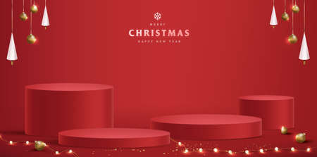 Merry Christmas banner with product display cylindrical shape