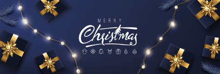 Merry Christmas banner template with festive decoration for christmas Ilustracja