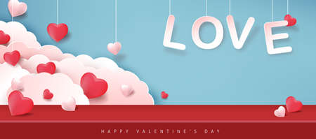 Valentines day background with Heart Shaped Balloons.