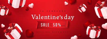 Valentine's day sale poster on red with gift box and heart.