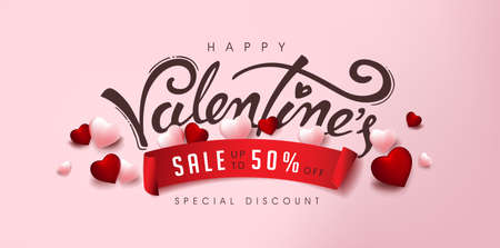 Valentine's day sale poster or banner with heart and calligraphy of valentine's.