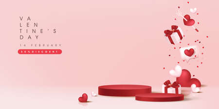 Valentine's day sale banner backgroud with with product display cylindrical shape. Ilustracja