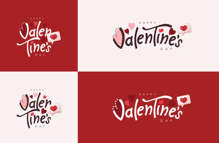 Happy Valentines Day typography banner backgroud.