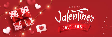 Valentine's day sale poster or banner red backgroud with gift box and heart. Ilustracja