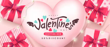 Valentine's day sale poster or banner backgroud.