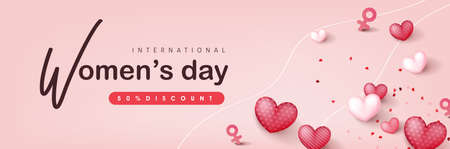 International women's Day sale banner template. Postcard on March 8.