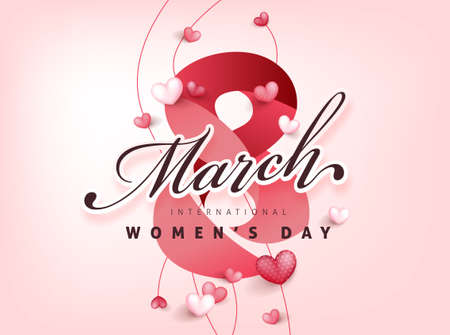 International women's Day greeting card banner template. Postcard on March 8.