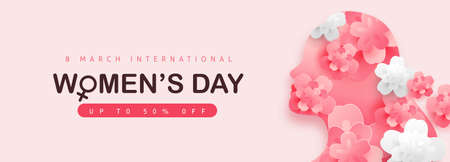 Women's Day sale banner. International women's Day greeting card template. Postcard on March 8.