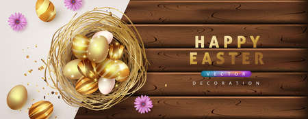 Easter banner background template with luxury premiume golden eggs.