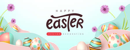 Easter banner background template with colorful eggs. Traditional colored easter eggs with different ornaments. Ilustracja