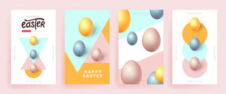 Modern easter banner poster background template with colorful eggs. Ilustracja