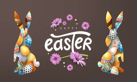 Happy easter banner background. Rabbit or bunny shape with colorful eggs.