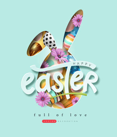 Happy easter banner background. Rabbit or bunny shape with colorful eggs and flower.