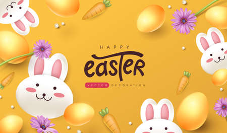 Easter greeting card background with cute rabbit and colored easter eggs.
