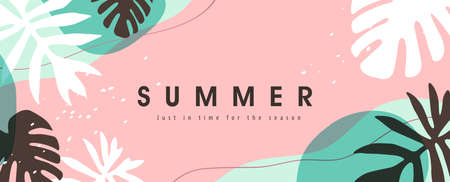 Colorful Summer background layout banners design. Horizontal poster, greeting card, header for website Stock Illustratie