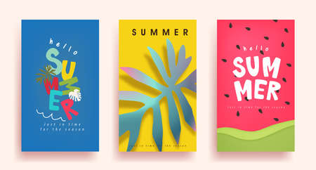 Colorful Summer background layout poster banner design.