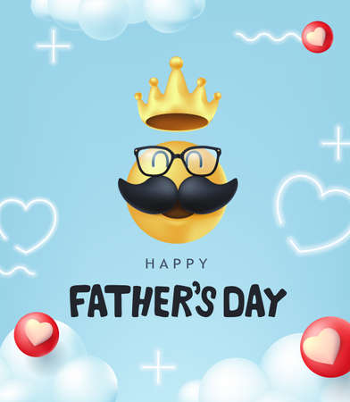 Happy Fathers Day banner background with mustache smiley