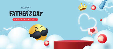 Happy Fathers Day banner background with mustache smiley and product display cylindrical shape.