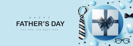 Happy Father's Day card with gift box for dad on blue background