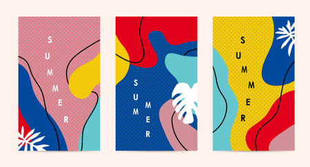 Trendy abstract art Summer layout poster banner background Stock Illustratie