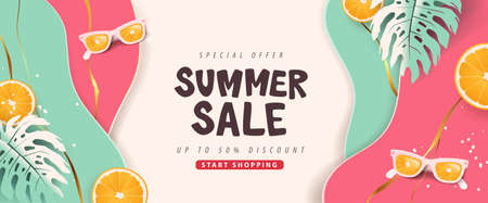 Colorful Summer sale layout poster banner background Stock Illustratie