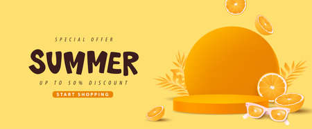 Colorful Summer sale banner with orange concept product display cylindrical shape
