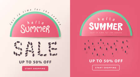 Summer sale layout poster banner background with watermelon concept
