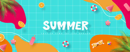 Colorful Summer banner background with pool party