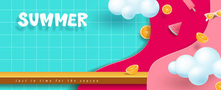 Colorful Summer sale banner with product display and copy space Stock Illustratie