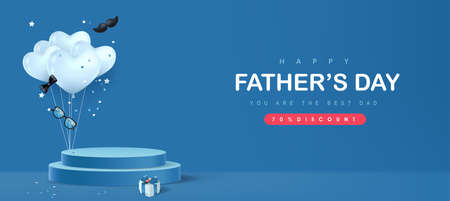 Happy Father's Day card with product display cylindrical shape and gift box for dad on blue background Vetores