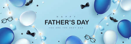Happy Father's Day card with festive decoration on blue background Stock Illustratie