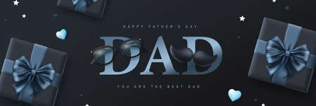 Happy Father's Day card with gift box on dark background Stock Illustratie