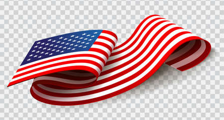 United States of America waving flag on transparent background for 4th of July. Stock Illustratie