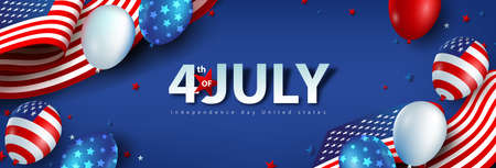 Independence day USA celebration banner with american balloons and Flag of the United States. 4th of July poster template. Stock Illustratie