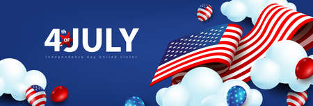 Independence day USA celebration banner with american balloons and Flag of the United States moving on cloud sky. 4th of July poster template. Stock Illustratie
