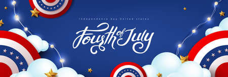 Independence day USA celebration banner with festive decoration american on cloud sky. 4th of July poster template.