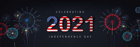 Independence day USA celebration banner with fireworks background and text 2021 american flag