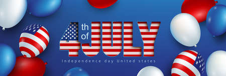 Independence day USA celebration banner with american balloons flag and text paper cut style. 4th of July poster template.