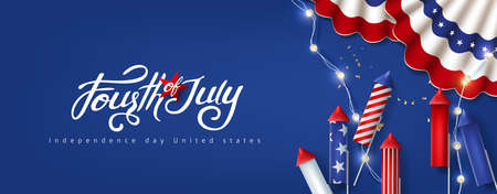 Independence day USA celebration banner with festive decoration american. 4th of July poster template.