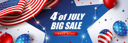 Independence day USA sale banner with american balloons and Flag of the United States. 4th of July poster template. Stock Illustratie