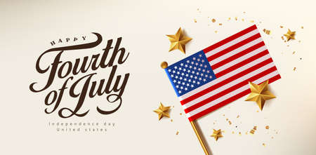 Independence day USA celebration banner with Realistic gold star and Flag of the United States. 4th of July poster template. Stock Illustratie