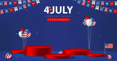 Independence day USA sale poster banner with product display cylindrical shape and american balloons Stock Illustratie