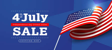Independence day USA sale banner with Flag of the United States. 4th of July poster template. Stock Illustratie
