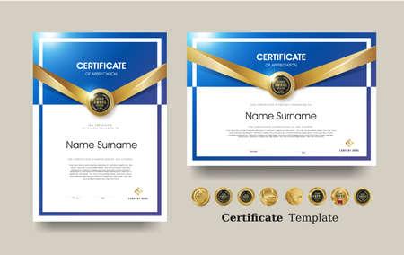 Certificate of appreciation template and vector Luxury premium badges design