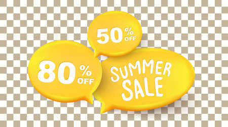Summer sale background layout banners with Speak bubble text on the transparent background