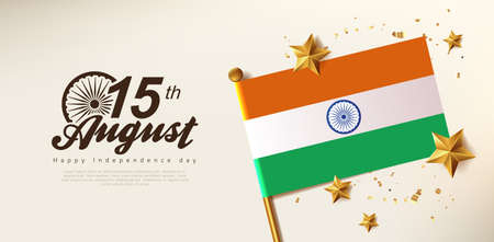 Independence day India celebration banner with Realistic gold star and Flag of India. 15th of August poster template.