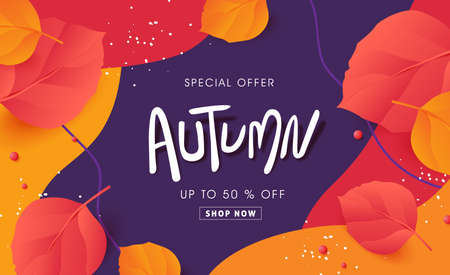Autumn sale banner background layout decorate with autumn leaves Stock Illustratie