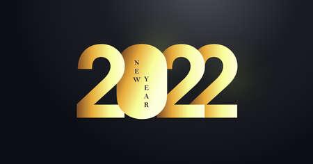 Happy New Year 2022 Number golden Text Design Stock Illustratie